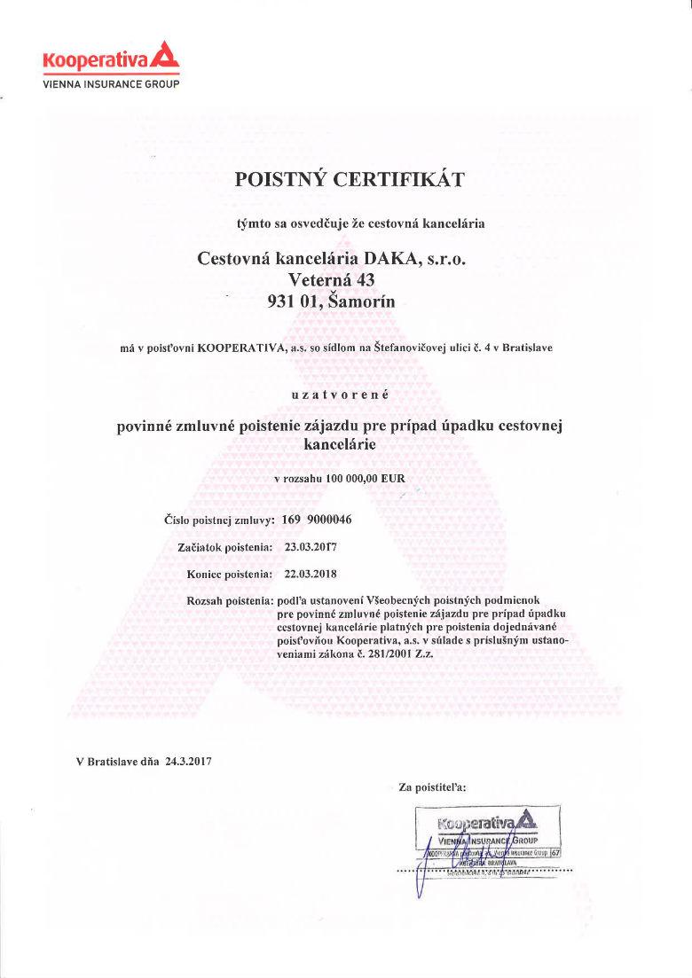 Poistny certifikat 2017